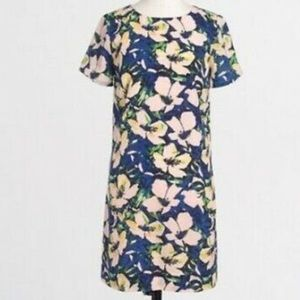 J. Crew Floral Pink Blue Shift Dress Sz 00